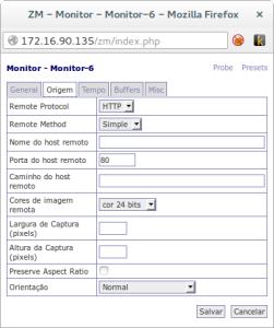 Adicionar câmera Zoneminder (Origem)