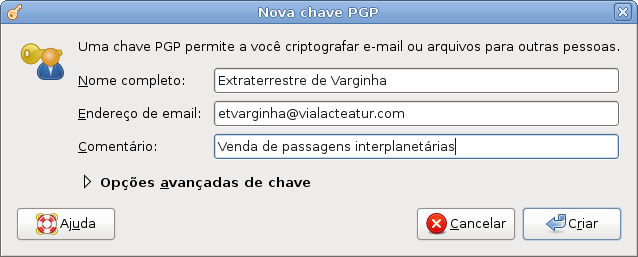 03 - Informando os seus dados para cirar uma nova chave PGP