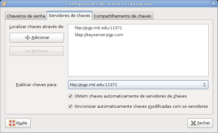 08 - Janela de configuração dos servidores de chaves